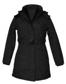 Ladies long Jacket with Belt Black