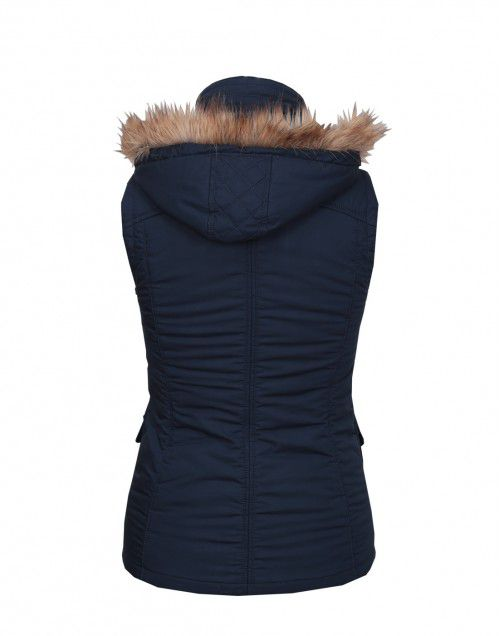 Ladies Sleeveless Quilted Jacket Navy