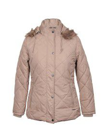 Womens Jacket Mid length Plus size Beige