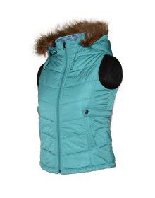 Girls Light weight quilted Jacket Seegreen Reversible