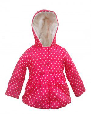 Girls Hooded Dotted Jacket Pink