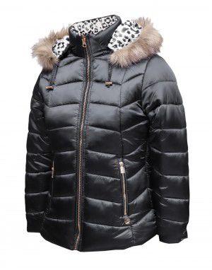 Girls Jacket Black Leopard Printed Reversible