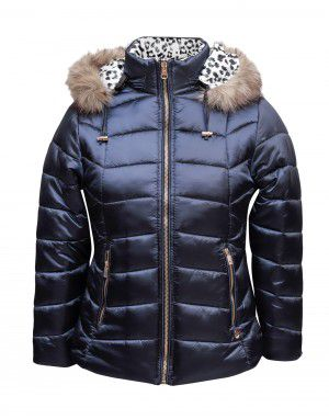 Girls Jacket Navy Leopard Printed reversible
