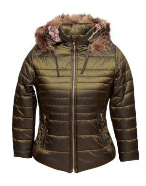 Girls Jacket Olive Quilted