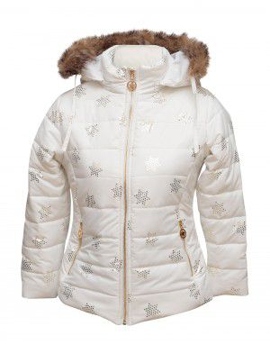 Girls Jacket White Star Quilted