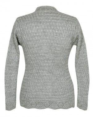 Lady Cardigan Full sleeves grey plus size
