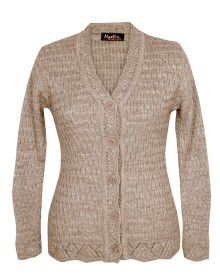 Ladies Cardigan light coffee color design Plus Size