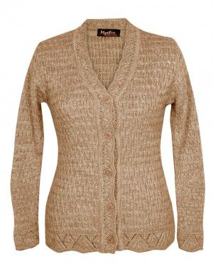 Lady Cardigan Full sleeves camel