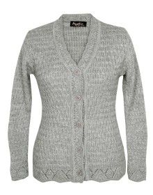 Lady Cardigan Full sleeves grey plus size