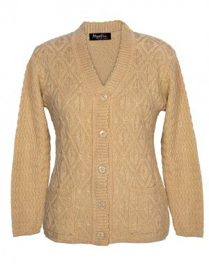 Lady Cardigan Pocket FS Camel