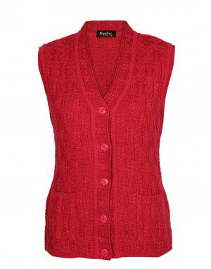 Lady Cardigan Pocket SL Red