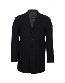 Men Coat Black Self Check