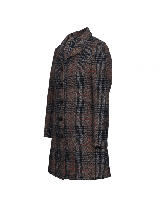 Ladies Coat Brown Check Designed