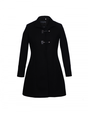 Ladies Coat Black Loop Button
