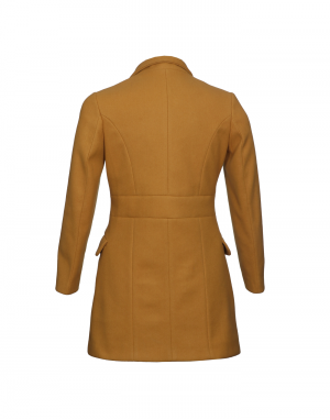 Ladies Coat Mustard Long Basic