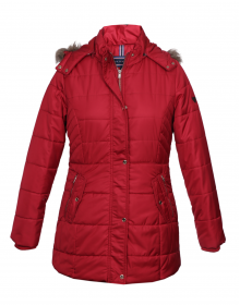 Womens Jacket Red Quilted Basic