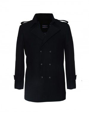 Men double breasted Coat Wool Black