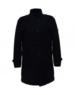 Men Coat Wool Black