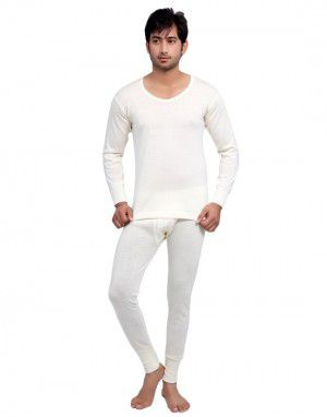 Mens Pure Wool Plus Size FS thermal set Cream
