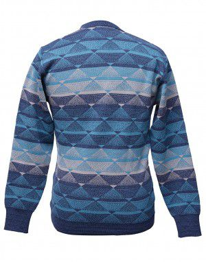 Men pure wool sweater designer blue