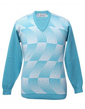 Men pure wool sweater designer sky blue