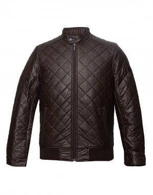 Men PU leather Jacket Coffee