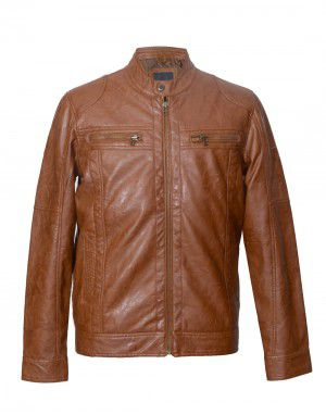 Mens Jacket PU Leather Brown