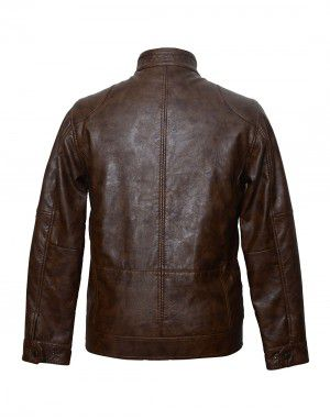 Mens Jacket PU Leather Coffee