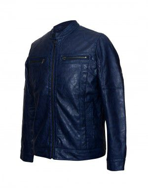 Mens Jacket PU Leather Denim