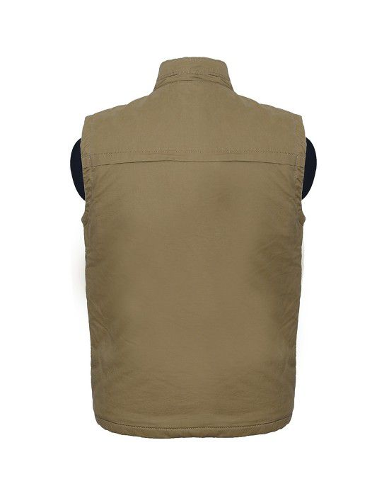 Mens Jacket Sleeveless Cargo Khaki
