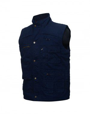 Mens Jacket Sleeveless Cargo Style Navy