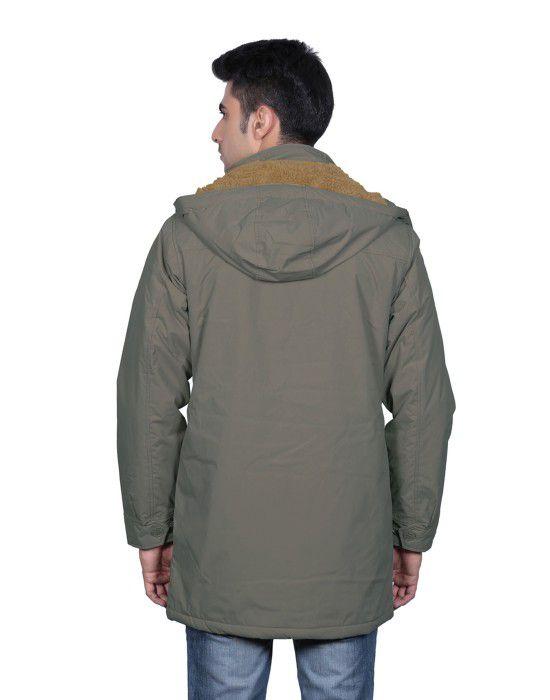 Men Parka Jacket Full Sleeve Olive