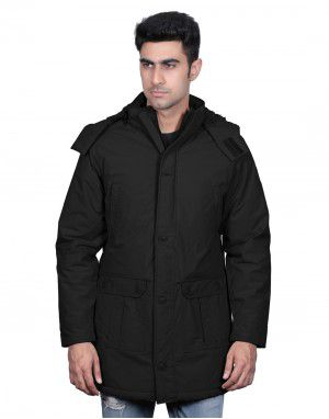 Men Long Over Coat Black