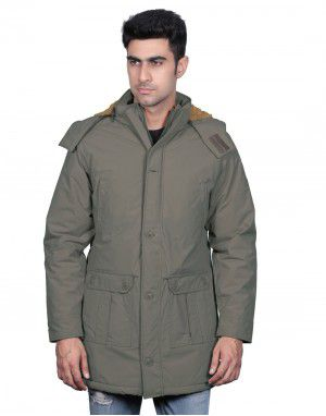 Men Parka Jacket Full Sleeve Olive