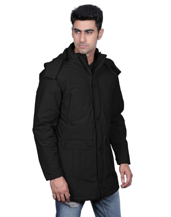 Men Parka Jacket Full Sleeve Black