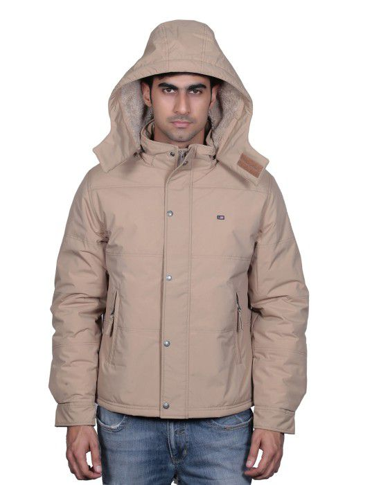 Mens Jacket Full Sleeve with Fur and Cap Camel