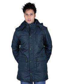 Mens Parka Plus size Style Long Sleeve Jacket Navy