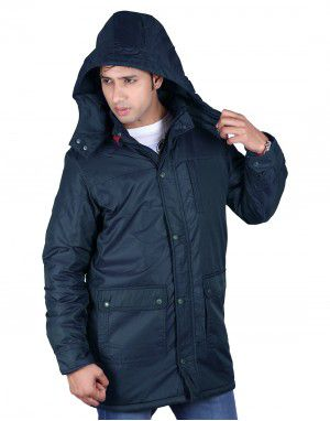 Mens Parka Style Long Sleeve Jacket Navy