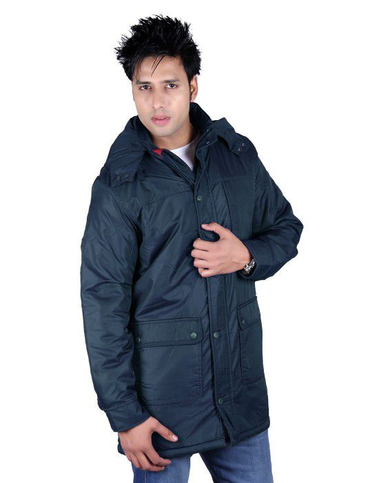 Mens Parka size Style Long Sleeve Jacket Navy