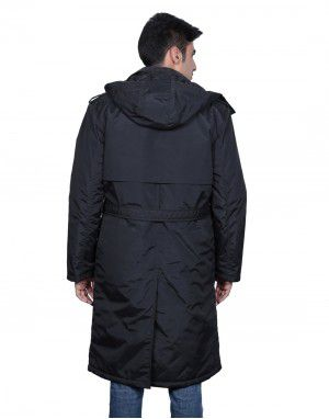 Mens Trench Over Coat Full sleeves Black