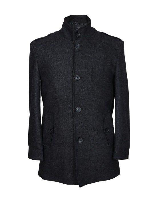 Men Coat Wool Black