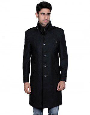 Men Wool Over coat FS Black Rib colar