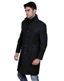 Men Wool Over coat FS Black Rib colar