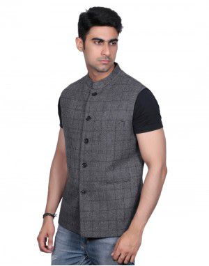 Men SL Wool Coat Grey check