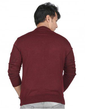 men plain sweater v neck design with ribbed cuffs