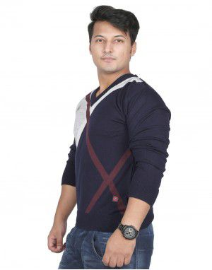 Men Sweater Plain V neck Design With Ribbed Cuffs Navy