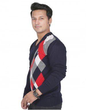 Men Sweater Plain V neck Colourful Stripes Design Navy