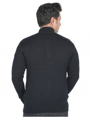 men sweater plain with front short button navy