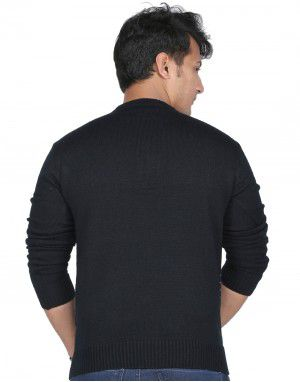 Men Sweater Small Cross Design Vneck Style Black