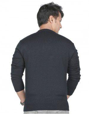 Men Sweater Small Diamond Design V neck Style Black